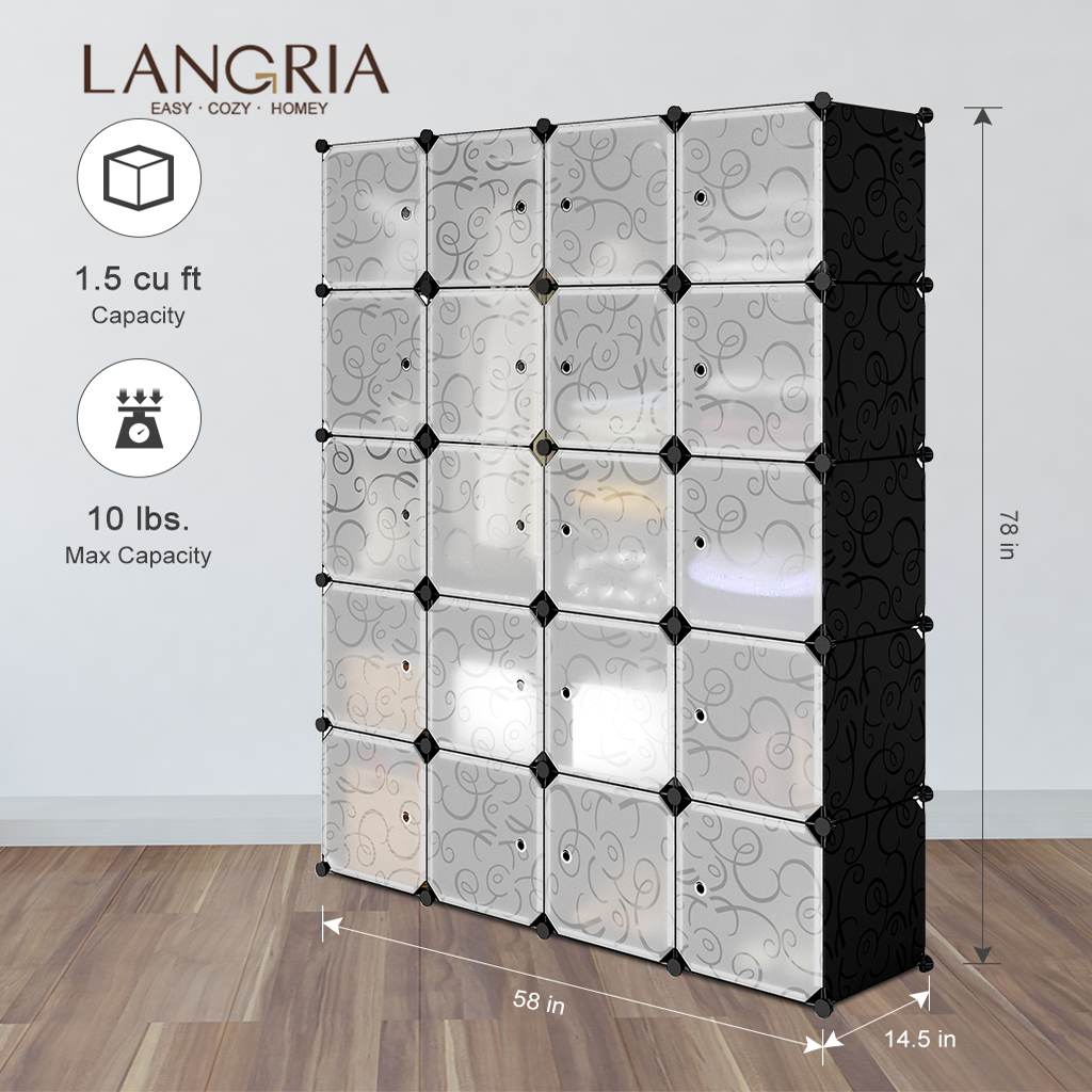 LANGRIA Cube Storage Closet Wardrobes Modular Oragnizer Plastic Assembled DIY Freely title=