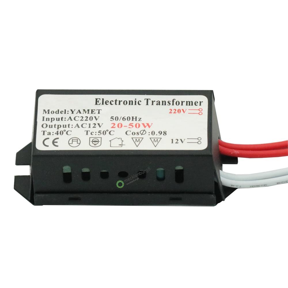 Светодиодный трансформатор для освещения, 220 В переменного тока в 12 В, 20-50 Вт, галогенная лампа, электронный конвертер, светодиодный трансфор...