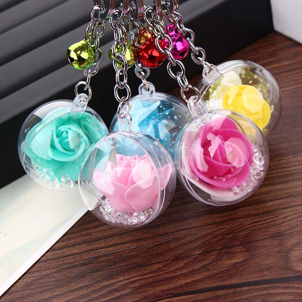 1 Pcs Fashion Rose Flower Crystal Keychain Trinket Metal Bell Car Key Chain Girl Gift Women Bag Charm Key Ring Keys Pendant