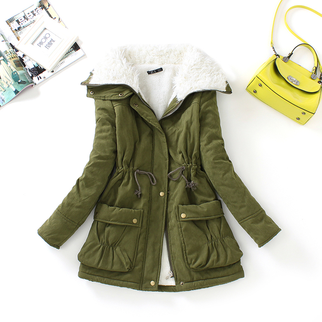 FTLZZ New Winter Parkas Women Slim Cotton Coat Thickness Overcoat Medium-long Plus Size Casual Overcoat Wadded Snow Outwear 3