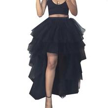 2019 Black Elastic High Waist Tulle Skirt Women Summer Sexy Dinner Party Maxi Skirt Femme Irregular Mesh Tutu Faldas Jupe black sexy medium waist high slit irregular hem maxi bodycon skirt