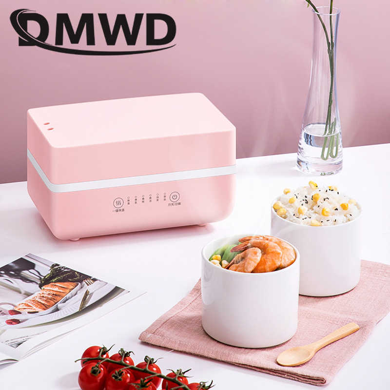 DMWD Electric Heating Lunch Box Mini Soup Stew Pot Rice Cooker Ceramic Meal Container Bento Lunchbox Porridge Food Warmer Heater