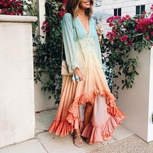 2019 Women Autumn Long Sleeve Boho Dress Loose Ruffle Gradient Color Beach