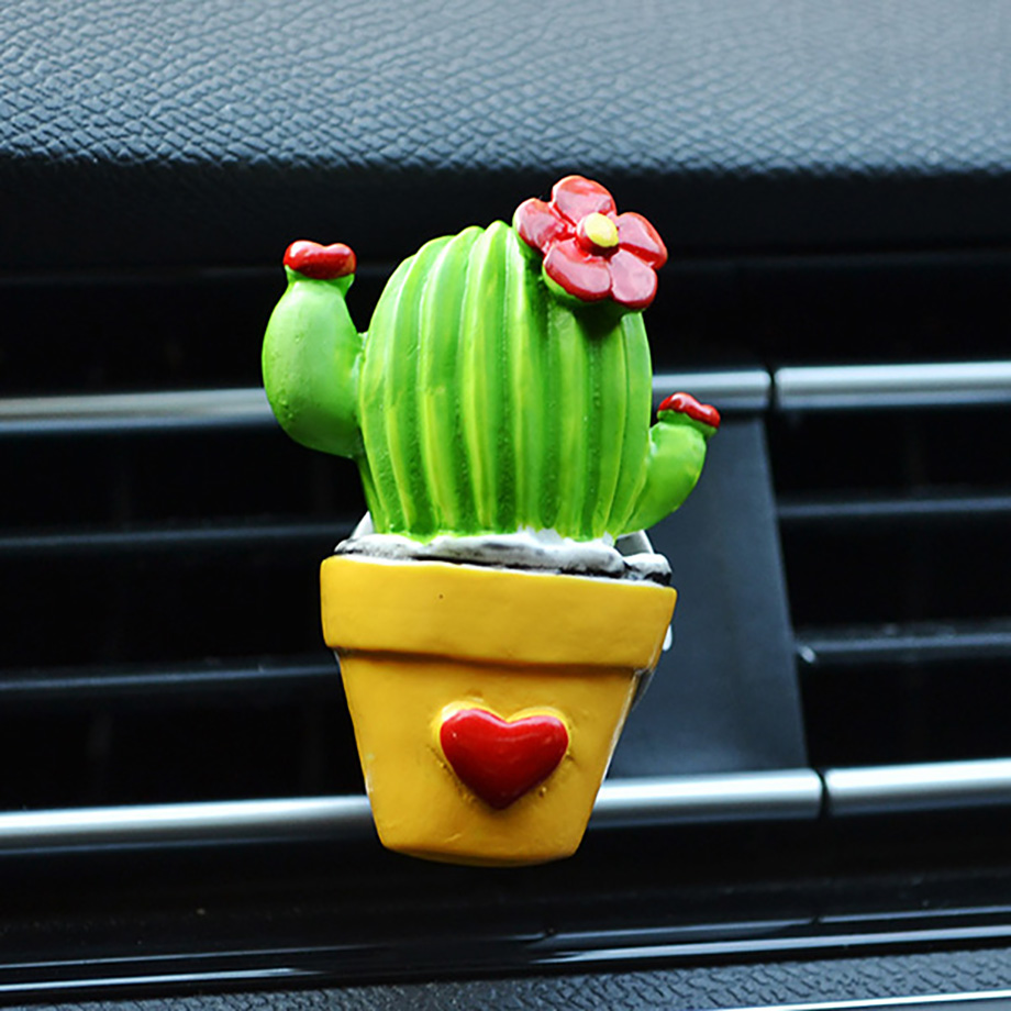 3D Cactus Flower Flavoring In Car Scent Air Freshener For Auto Perfume Aroma Diffuser Air Vent Clip Car Accessory Creative Decor