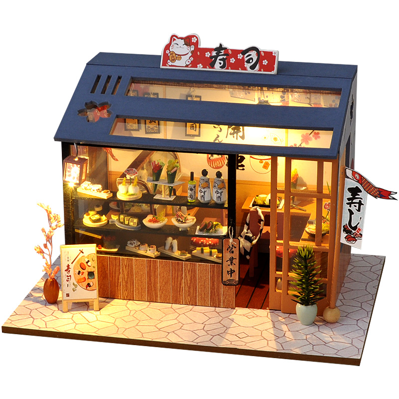 DIY Wooden Dollhouse Assembled Sushi Dessert Shop Miniature with Furniture Doll House Casa Toys for Children Adult Gifts
