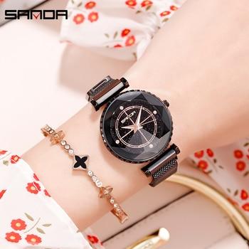 Sanda Luxury ladies Crystal Watch Women Dress Watch Fashion Rose Gold Quartz Watches Female Stainless Steel Wristwatches P1015