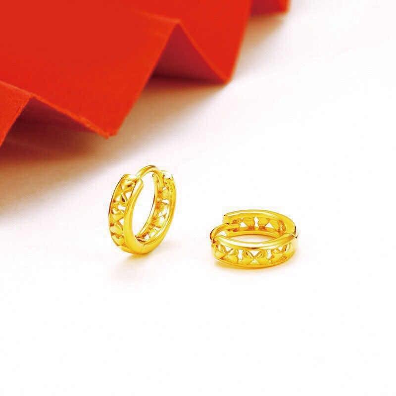 MxGxFam Vàng Màu Vàng 24 k Trái Tim Ngọt Ngào Đôi Khuyên Tai Vòng Cho Nữ Trang sức Thời trang AAA + Niken Giá Rẻ