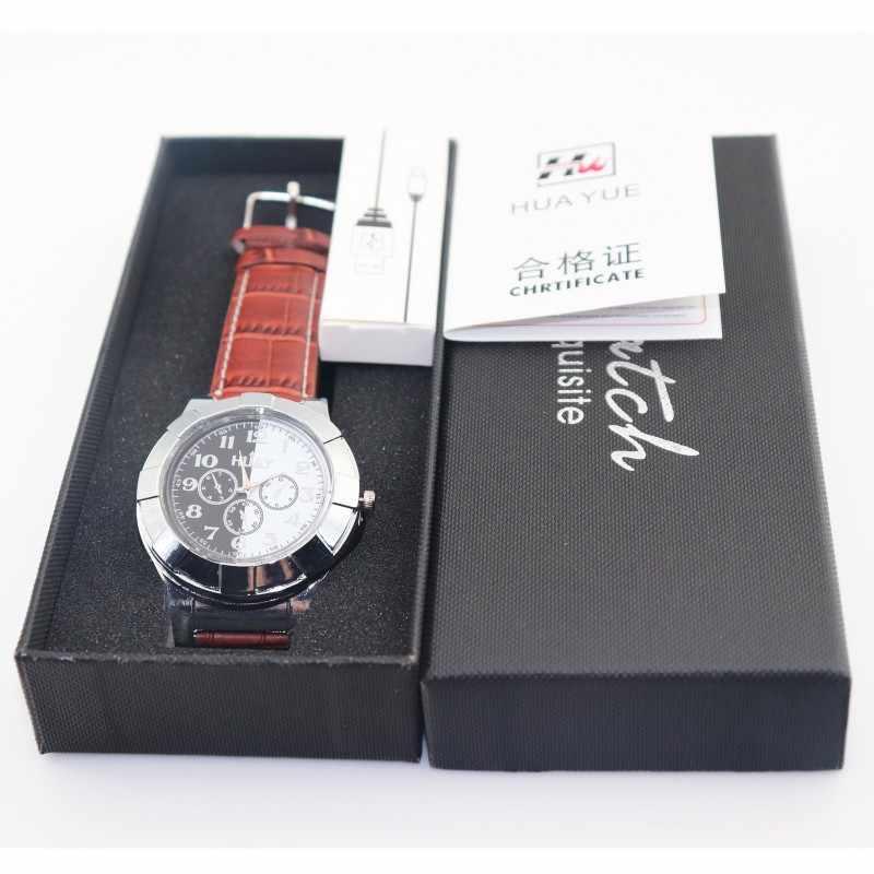 שעונים מציתים גברים USB נטענת שעונים מקרית זכר קוורץ שעוני יד עור Flameless מצית שעון F667 1PCS