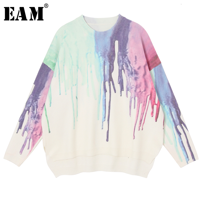 [EAM] Pattern Big Size Knitting Sweater Loose Fit Round Neck Long Sleeve Women Pullovers New Fashion Autumn Winter 2019 1K771