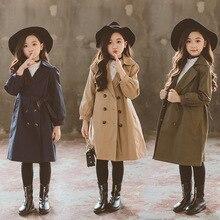 Ветровка, куртка для девочек, верхняя одежда, детские пальто, детские двубортные куртки для подростков, От 3 до 16 лет, весенне-осенний Тренч, верхняя одежда, CA173