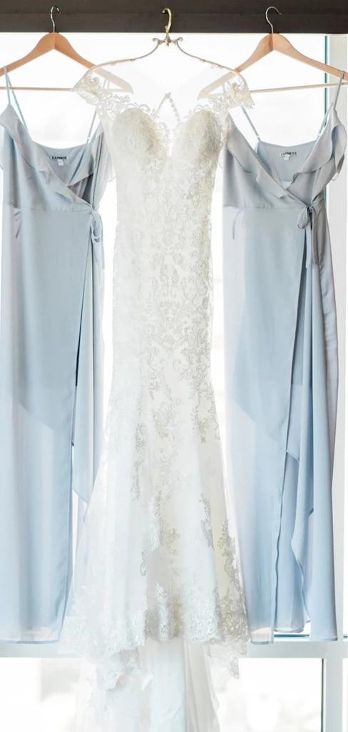 Light Blue Chiffon Bridesmaid Dresses Spaghetti Strap High Low Wedding Guest Dress Vestido Madrinha