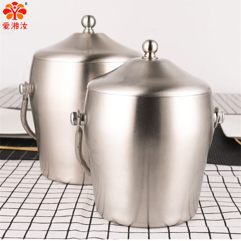 Double Thick Stainless Steel Insulated Cold Champagne/Ice Bucket With Covered Wine Bar Kitchen  Appliances Cast Barrel