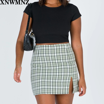 Spencer Mini skirt Check print Off center slit Invisible zip at side Slim fitting Unlined skirts 2020 women za zip front check plaid shorts
