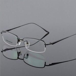 Image 4 - New Semi Rim Pure Titanium Eyeglasses Frame for Men Optical Glasses Frame Prescription Half rim Eyewear Business Spectacles