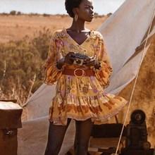 Boho Foral Long Sleeve Dress Women Frill V-Neck Summer Boho Dress Print 2019 Chic Tassel Elastic Waist Mini Dress