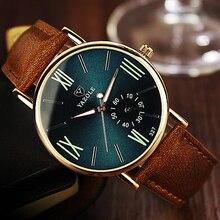 새로운 패션 남자 시계 빛나는 세련된 톱 브랜드 YAZOLE Ceasuri 캐주얼 시계 가죽 밴드 쿼츠 Hodinky montre homme