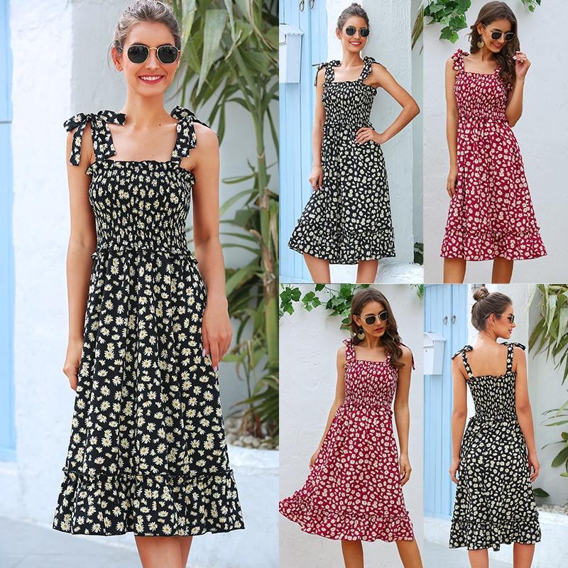 Dresses for Women Elegant Fashion Women Summer Beach Dress Ruffles Vintage Print Sleeveless Strapless Dress