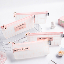Kawaii pencil bags Cute Solid Color Transparent Mesh Pencil Case School Student Supplies Pen Box Bag Stationery Storage