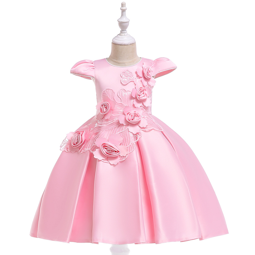 Children Dress CHILDREN'S Dress Princess Dress Stereo Color Girls Formal Dress Wedding Dress Catwalks Costume Red