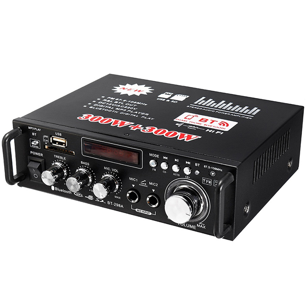 Car Power Amplifier Auto Power Amplifier High Performance Power Amplifier Bluetooth Stereo Remote Control 600W Portable