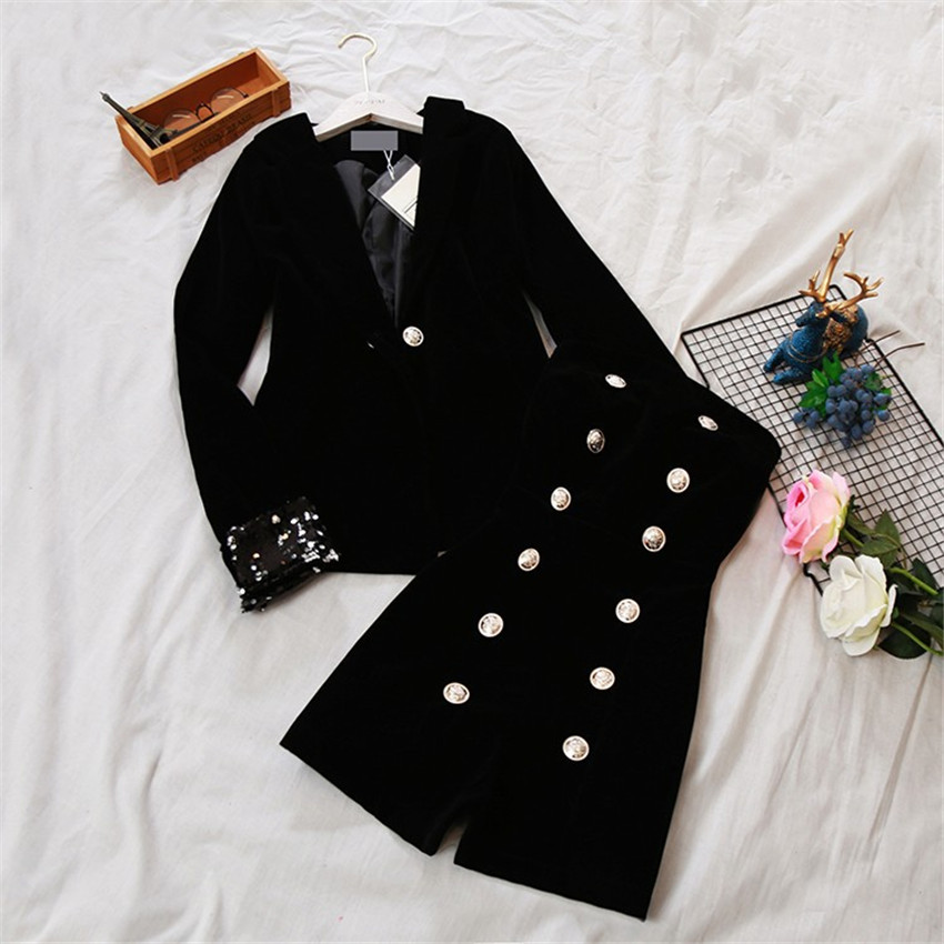 Autumn Two Piece Big Size Vintage Women Gold Velvet Blazer +Tube top Jumpsuit Formal Suits Loose Lady Black Blazer Coat WZ1098