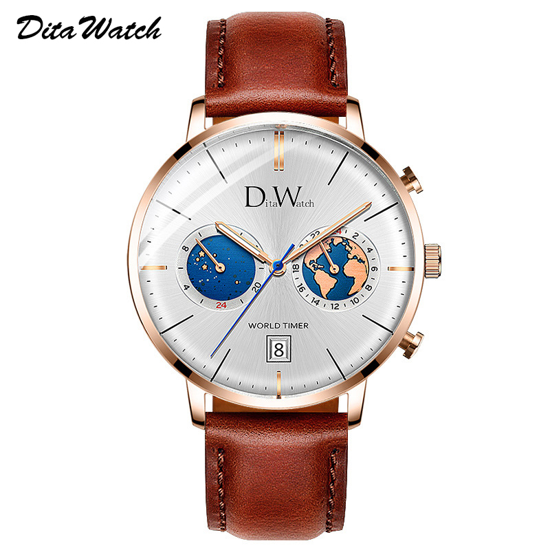 Mens Watches Personalized Watch Men Luxury Quartz Man Multiple Time Zone Wrist Watch Men Fashion Relogio Masculino New 2019 DITA