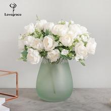 Peonies Bouquet Wedding Artificial-Flowers Christmas-Decor Flores Silk DIY Home Party