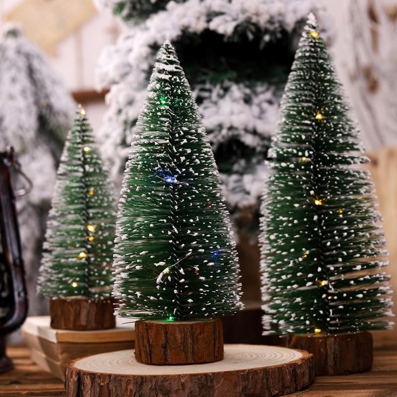 Lights Small DIY Christmas Tree Fake Pine Tree Mini Sisal Bottle Brush Christmas Tree Santa Snow Christmas Decoration Tree