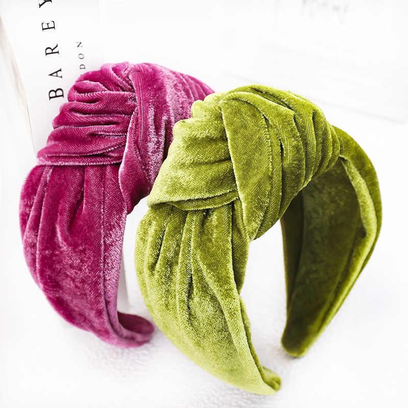 Haimeikang Fashion Baru Ikat Kepala Warna Solid Simpul Bezel Bulang Emas Beludru Tiara Wanita Peregangan Flanel Aksesoris Rambut