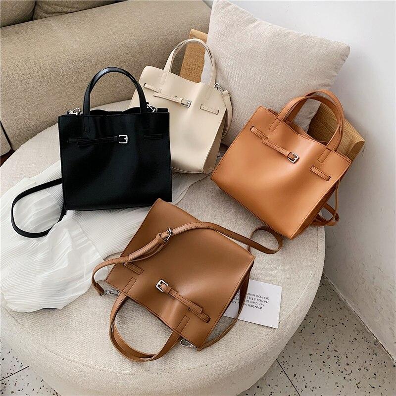 Image 5 - 2019 Big Women Handbag PU Leather Women Shoulder Bags Designer Women Messenger Bags 2pcs Ladies Casual Tote Bags Sac A Main-in Shoulder Bags from Luggage & Bags
