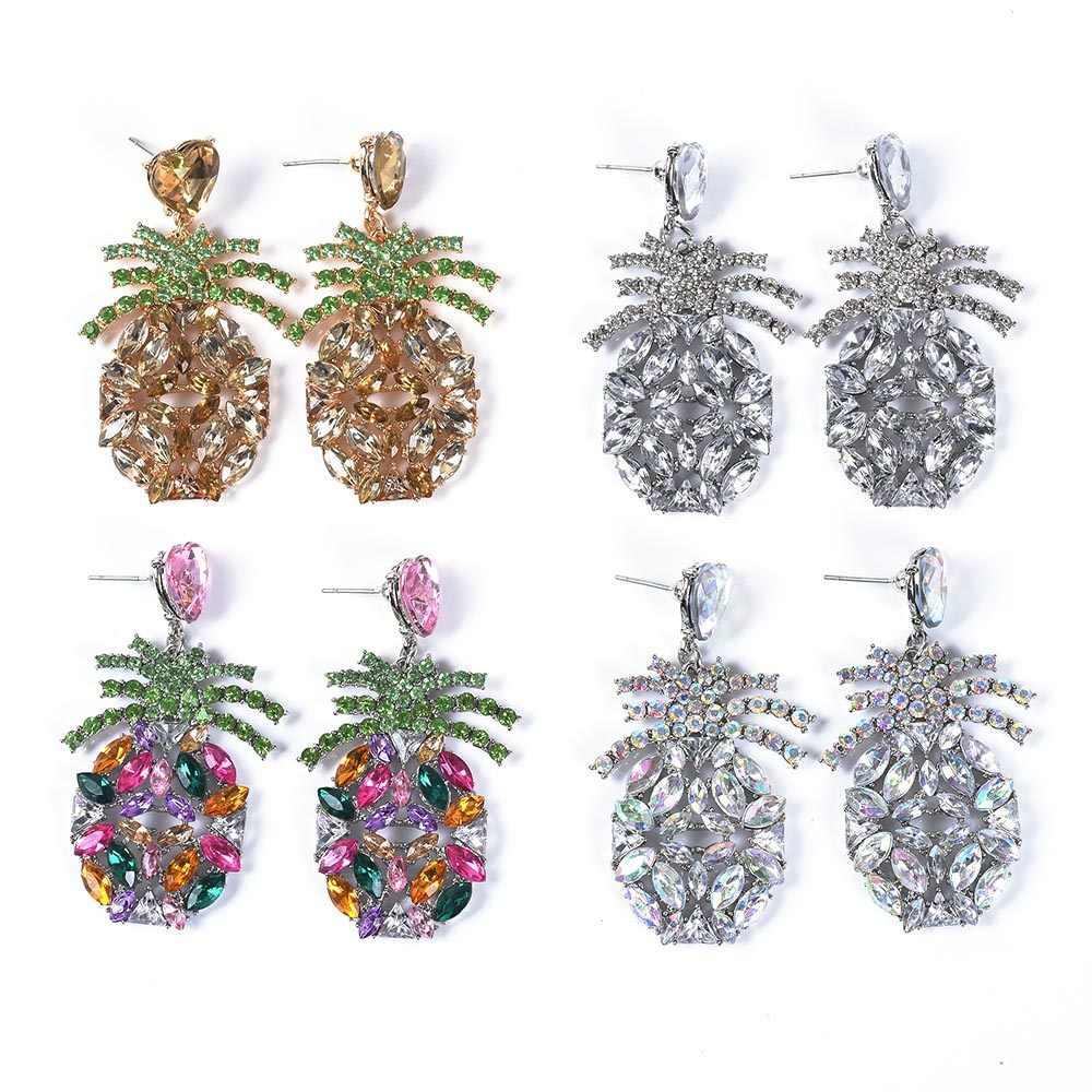 Luxury Crystal Pineapple Design ZA Earrings Jewelry Women Indian Wedding Bridal Rhinestone Earrings Female Christmas Earrings