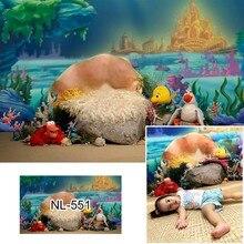 Sotto il mare sfondo di compleanno per fotografia neonato kdis ritratto torta smash sfondo castello sirena decorazione di compleanno