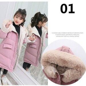 Image 3 - 子供の冬ダウン綿のジャケット 2020 新ファッション女の子の服子供服厚いパーカファーフード付き防寒アウターコート