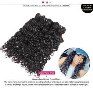 Image 3 - Ishow saç hint İnsan saç su dalgası demetleri satın 3 veya 4 adet insan saç demetleri olsun güzel hediyeler doğal renk saç örgü demetleri