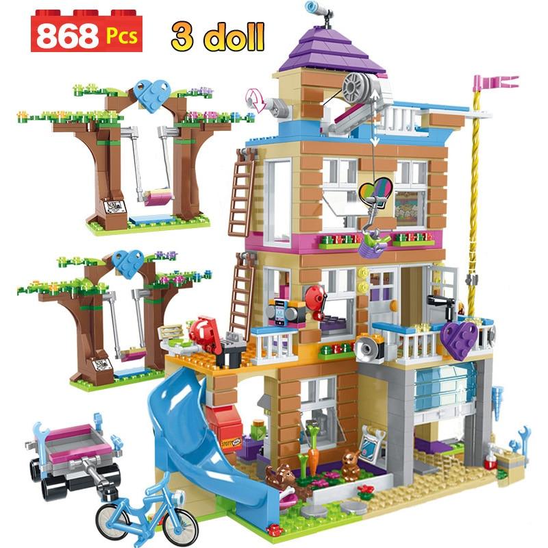 Kids Toys Bricks Building-Blocks Friendship-House Girls Compatible Children Stacking
