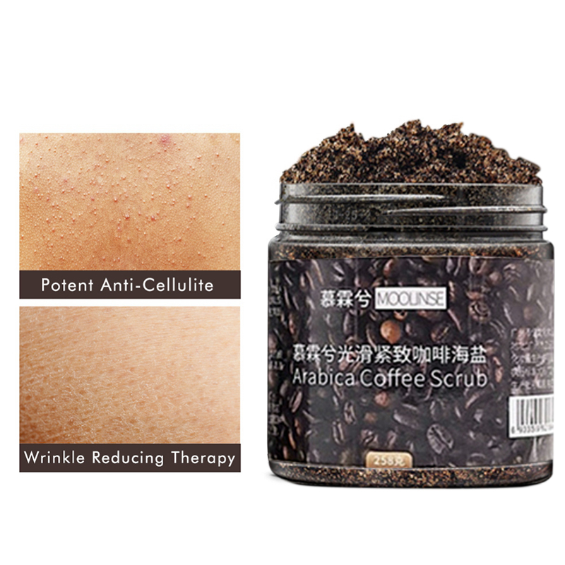 258G Coffee Scrub Sea Salt Exfoliating Whitening Massage Cream Anti Cellulite Body Scrub Treatment