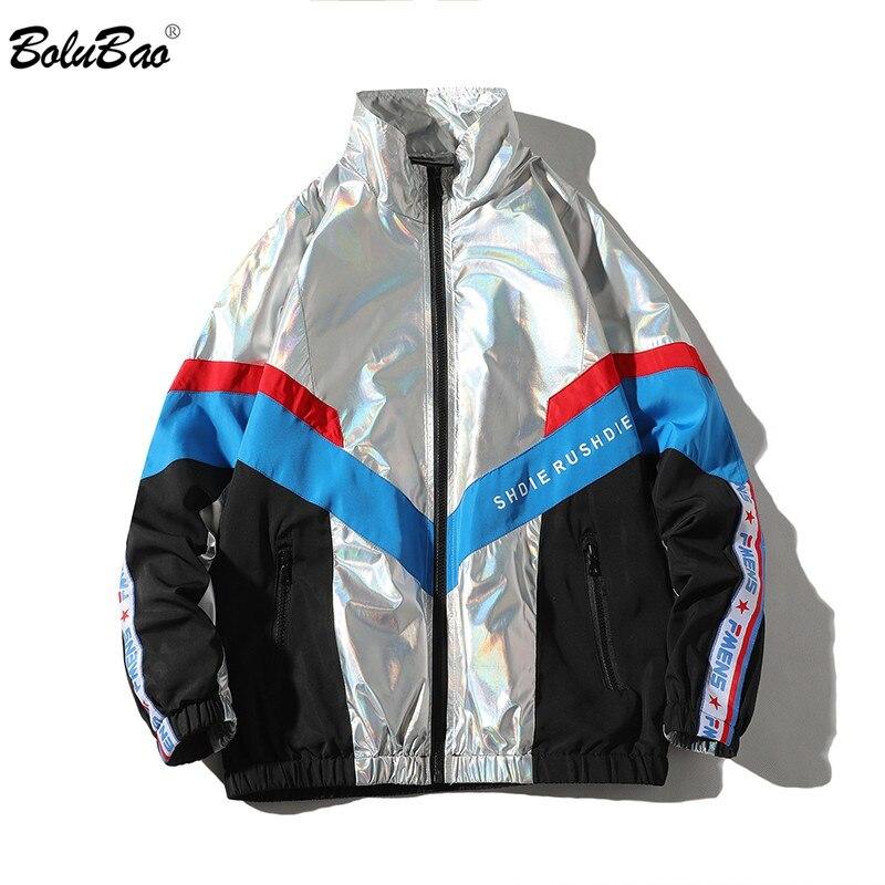 BOLUBAO Brand Men's Jackets Coat Splice Reflective Splice Letter Print Men Jacket Street Harajuku Style Male Jacket Coats