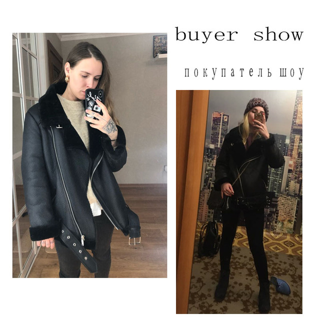 Winter Sheepskin Coats Women Thicken Faux Leather Fur Coat Female Fur Lining Leather Jacket Aviator Jacket casaco feminino