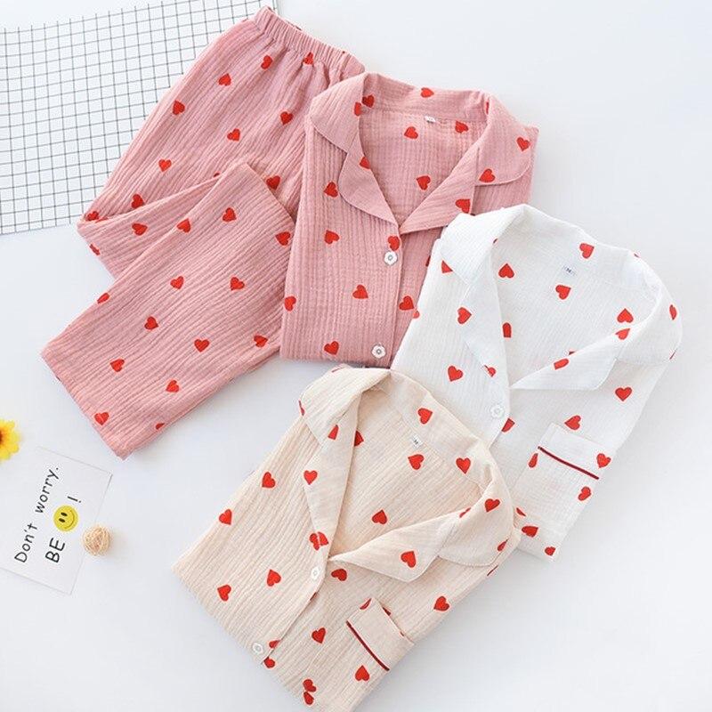 Women Pajamas Sets Long Sleeve Trousers Female Sleepwear 100% Cotton Turn-down Homewear Pijamas Women's  Pyjamas Loungewear