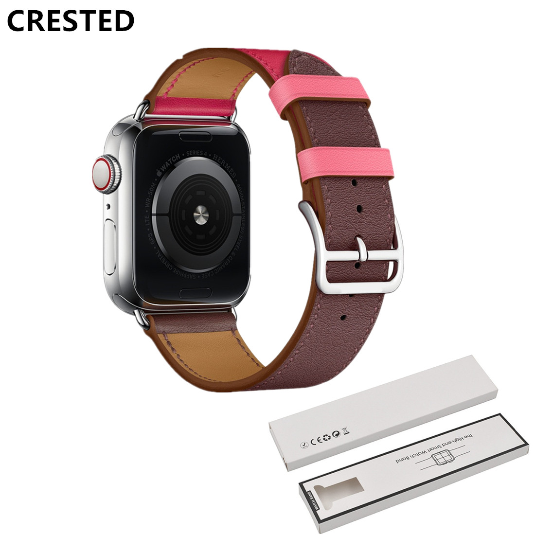 CRESTED single tour Leather strap For Apple Watch band 5 4 44mm 40mm bracelet iwatch series 3/2/1 42mm 38mm Wrist bracelet belt