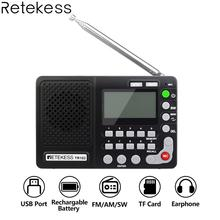 Retekess TR102 Portable Radio FM/AM/SW World Band FM Radio MP3 Player REC Recorder With Sleep Timer Black Receiver Recorder 5 pcs portable radio retekess v 117 3 band fm am sw radio battery powered emergency receiver radio station f9207a