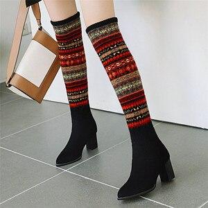 Image 5 - FEDONAS مختلط الألوان الجوارب أحذية النساء فوق حذاء برقبة للركبة حجم كبير أحذية ذات كعب عالي امرأة الخريف الشتاء الدافئة طويلة الأحذية