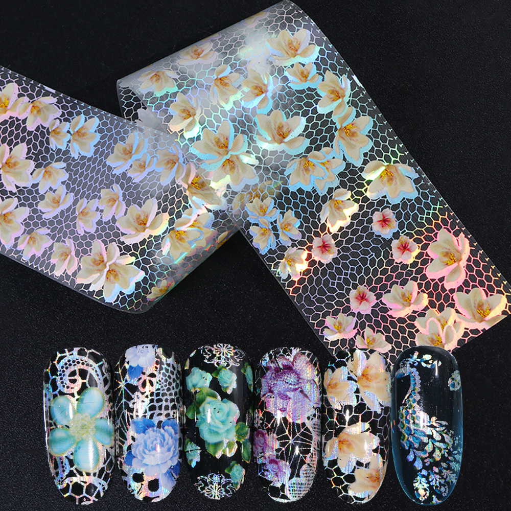 Nail-Stickers-Decal Wraps-Decoration Transfer Foils Flowers Nail-Art Holographic Designs