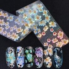 Mélange de feuilles de transfert de dentelle blanche pour Nail Art, autocollants, décoration pour les ongles, motif de fleurs holographiques, décoration pour manucure, TR931, 16 pièces/ensemble