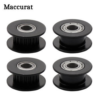 1PC 3D Printer Parts 2GT 20 Teeth Idler Pulley black color Width 6mm Bore 5mm with bearing for GT2 Timing belt synchronous Wheel gt2 timing belt pulley 6mm bandwidth gt2 16 tooth 20 teeth bore 5mm 6mm 6 35mm 8mm inner hole diameter pulley 3d printer parts