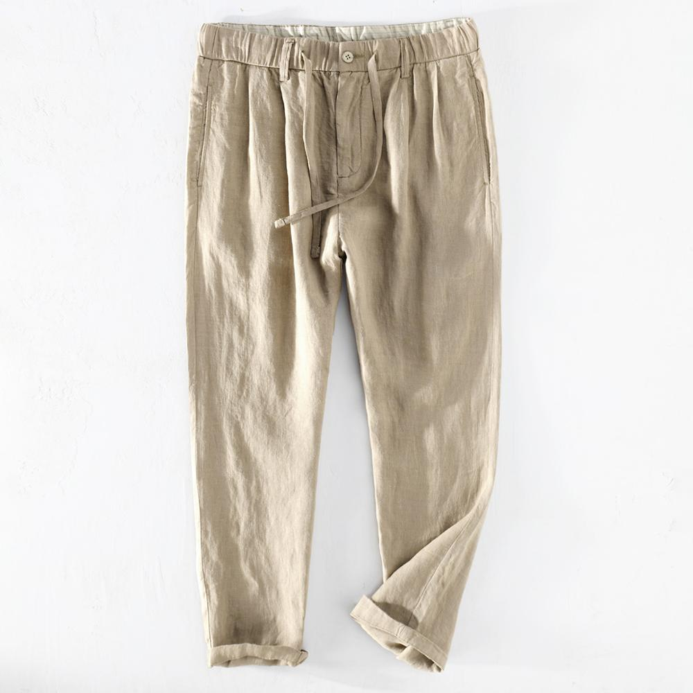 2020 Smmer 100% Pure Linen Ankle-length Pants Men Cool Drawstring Plus Size Straight Trousers Male Y2739