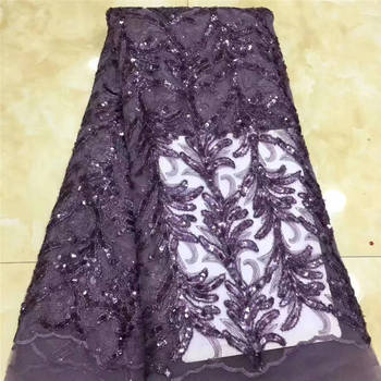 African Wedding Lace, Sequin Lace Dress Fabric, Purple French Lace Mr2669b
