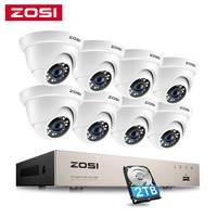 ZOSI 8CH 1080P Sicherheit Kamera System H.265 + 8CH 5MP Lite HD CCTV DVR Recorder 8 stücke 2MP Innen/Outdoor Dome Überwachung Kameras