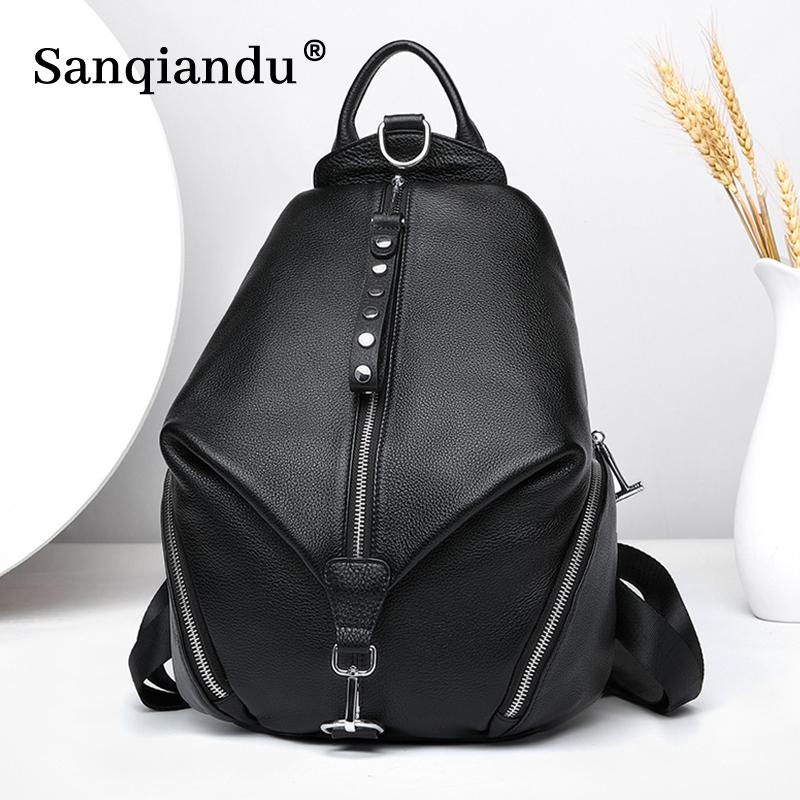 Anti theft Women Backpacks 100% Genuine Leather Travel Backpacks Large Capacity Schoolbag For Girls 2021 New Design Backpack