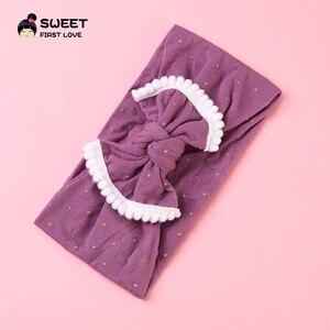 Image 5 - Милые детские повязки на голову, эластичная простая повязка на голову, тюрбан для девочек, оптовая продажа, резинки из мягкой ткани, головной убор с бантом, аксессуары для волос для детей